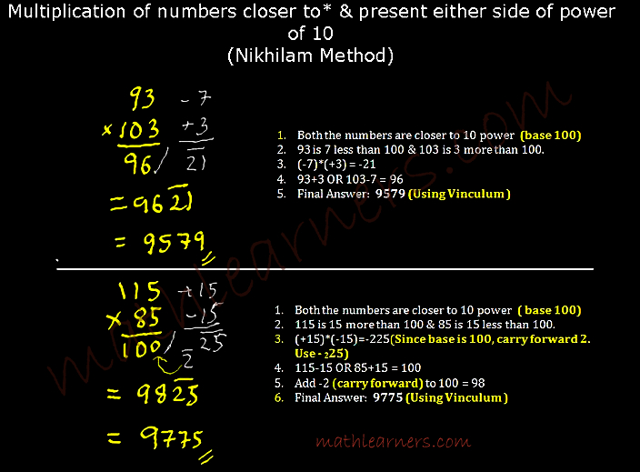 Vedic Mathematics- Shortcut Method for multiplication of numbers when numbers are closer to power of 10