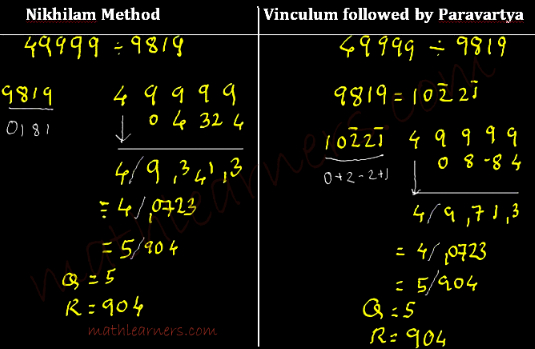 Vedic Mathematics tricks for dividing numbers using Anurupyena Sutra