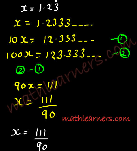 Conversion of Recurring Number to Fractions Example 2