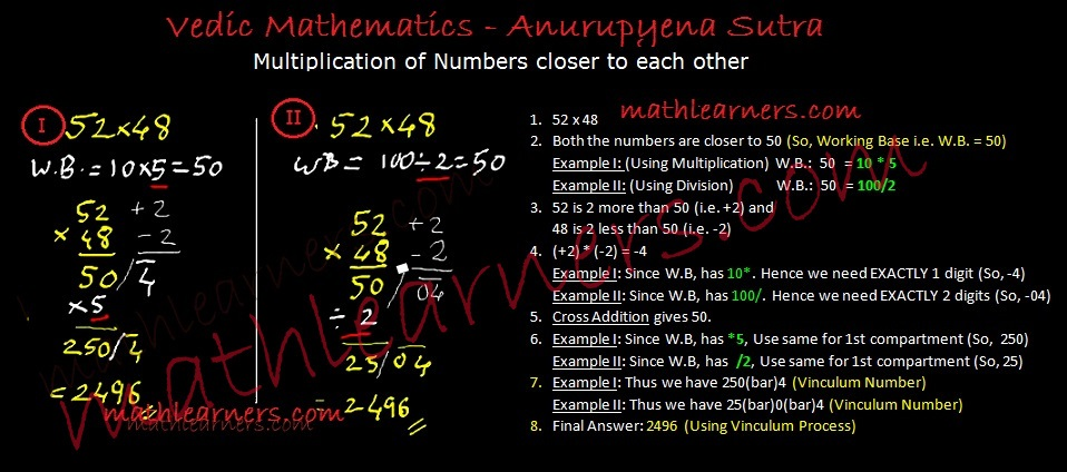 Shorcut technique for multiplication in Vedic Mathematics using Anurupyena Sutra.