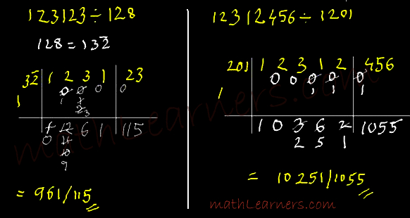 Flag Method of Vedic Mathematics to divide numbers