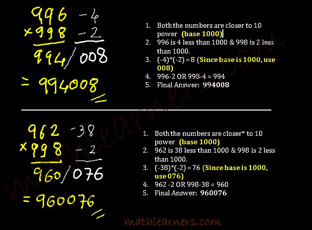 Shortcut Method in Vedic Mathematics to multiply numbers when numbers are closer to power of 10