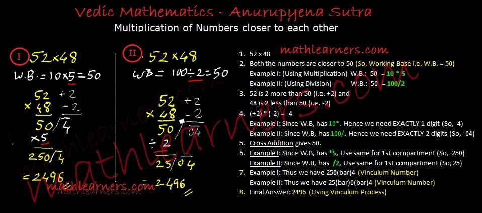 Shorcut technique for multiplication in Vedic Mathematics using Anurupyena Sutra.